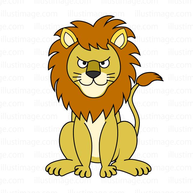 お座りしたライオンの無料イラスト素材イラストイメージ