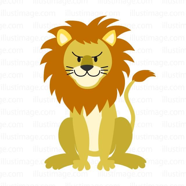 ゆるかわいいライオンの無料イラスト素材イラストイメージ