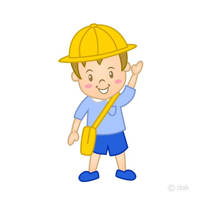 挨拶する幼稚園児の男の子の無料イラスト素材イラストイメージ