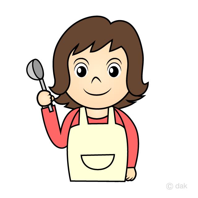 料理するお母さんの無料イラスト素材イラストイメージ