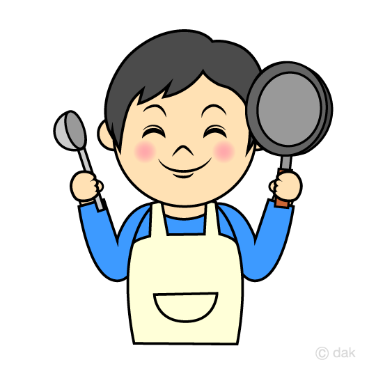 料理するお父さんの無料イラスト素材イラストイメージ