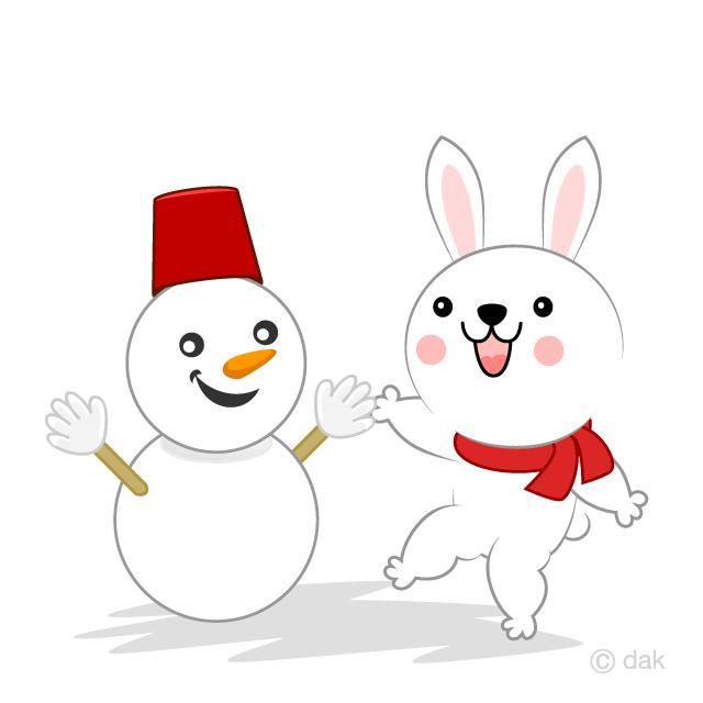 雪だるまを作るウサギ