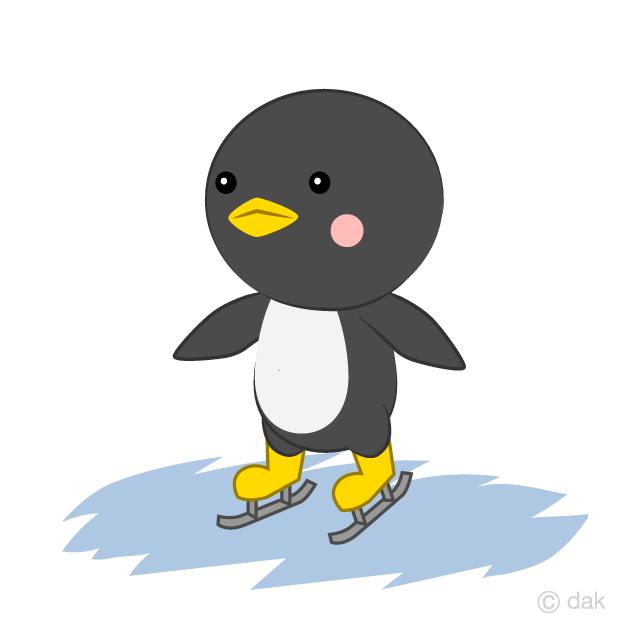 スケートをするペンギンの無料イラスト素材イラストイメージ