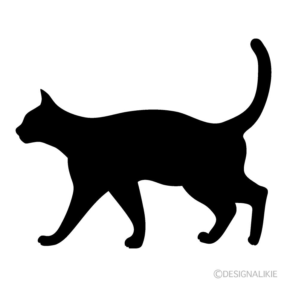 猫のシルエットの無料イラスト素材イラストイメージ