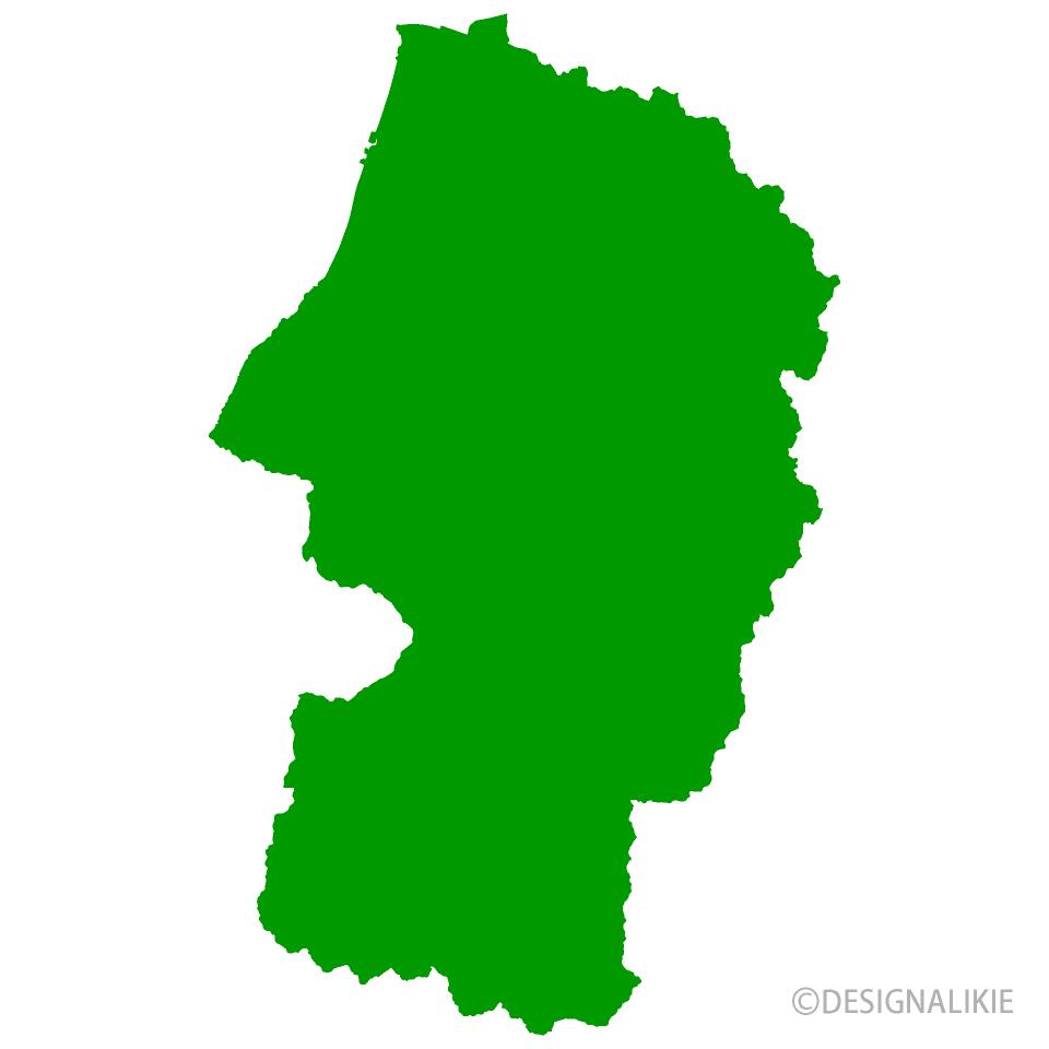 山形県地図の無料イラスト素材イラストイメージ