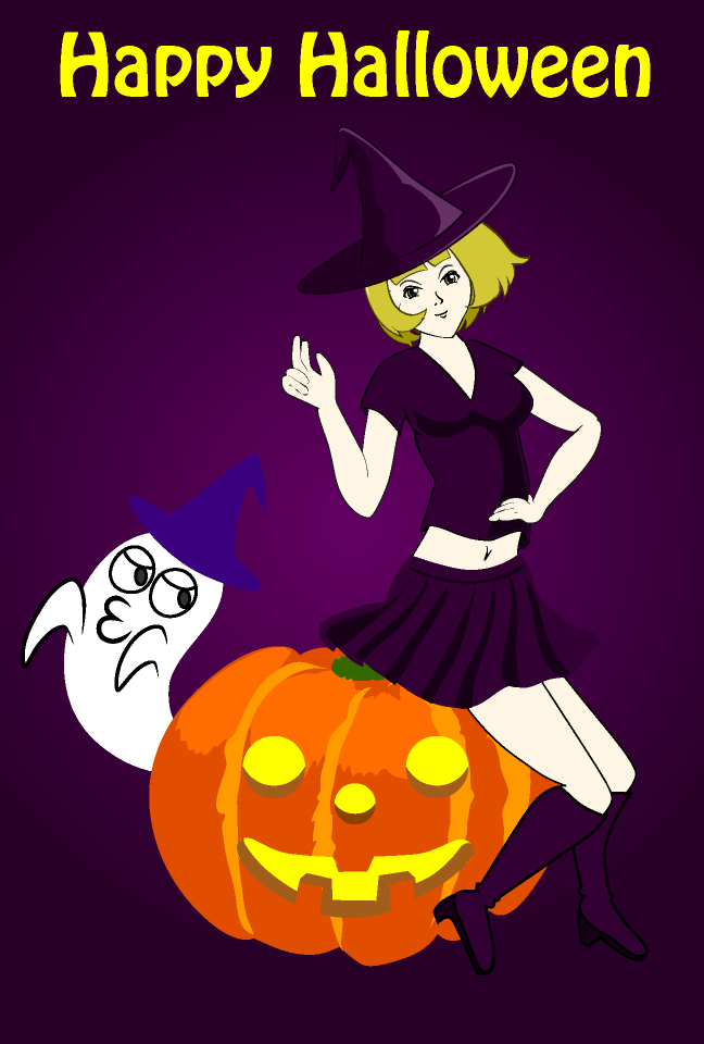 Witch and pumpkin Halloween card