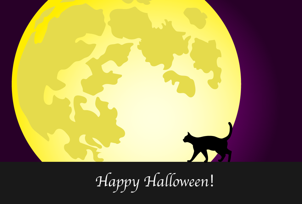 Black cat and full moon Halloween card