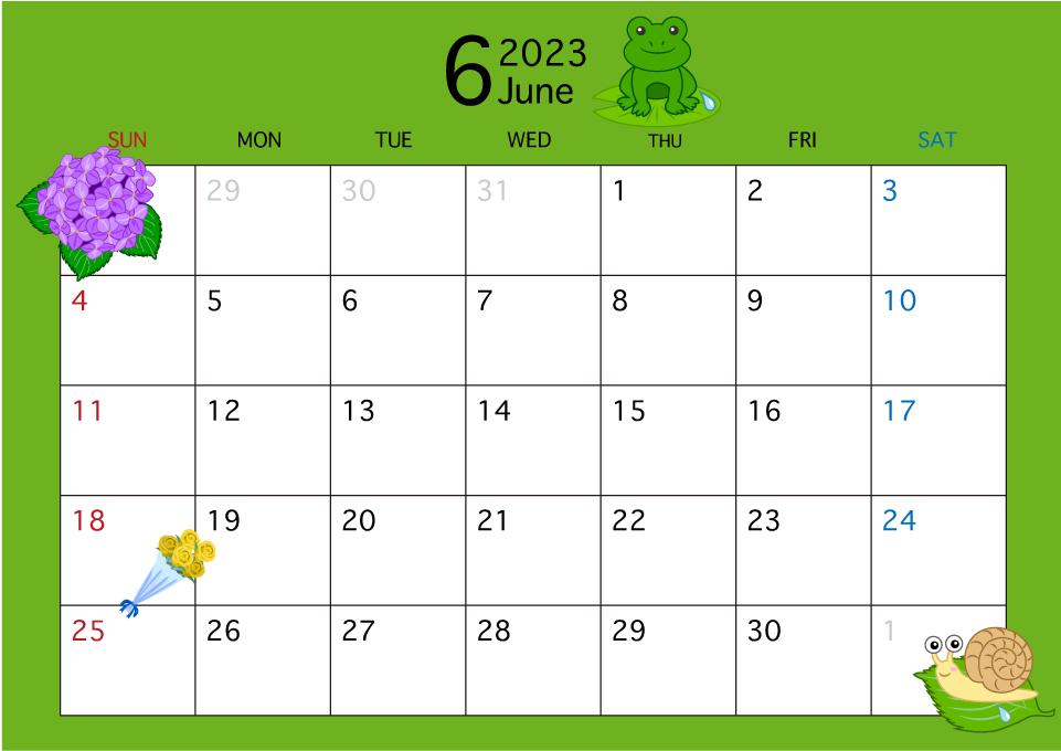 2018年6月カレンダー(梅雨)のイラスト無料素材
