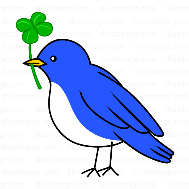 Four leaf clover and blue bird clip art