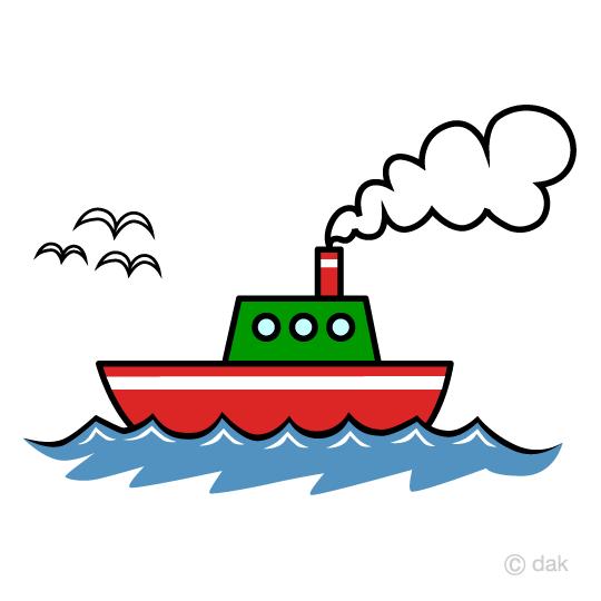 船とカモメの無料イラスト素材イラストイメージ