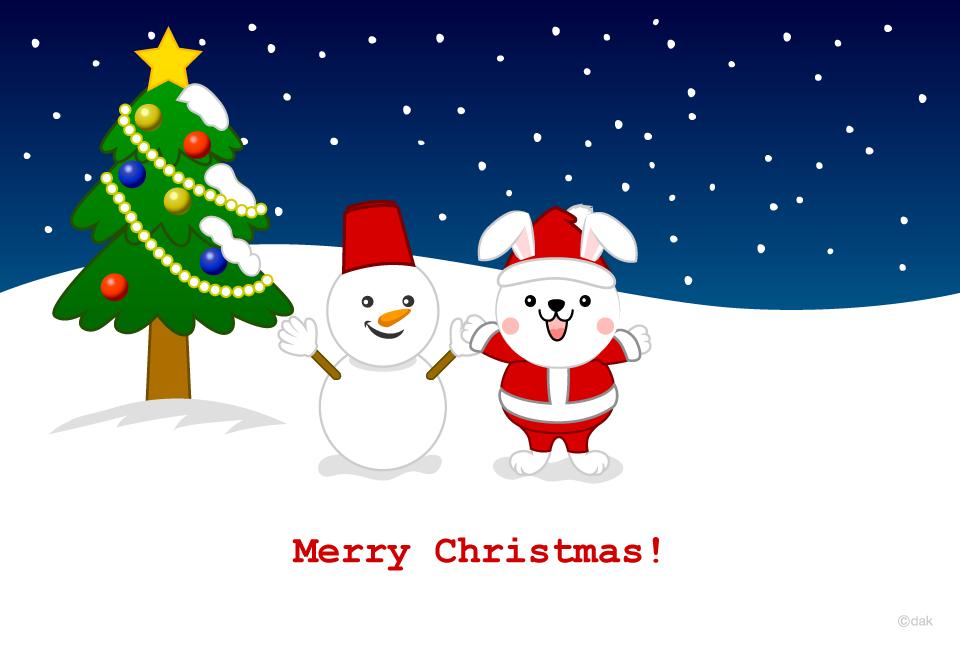 ウサギのクリスマスカードの無料イラスト素材イラストイメージ