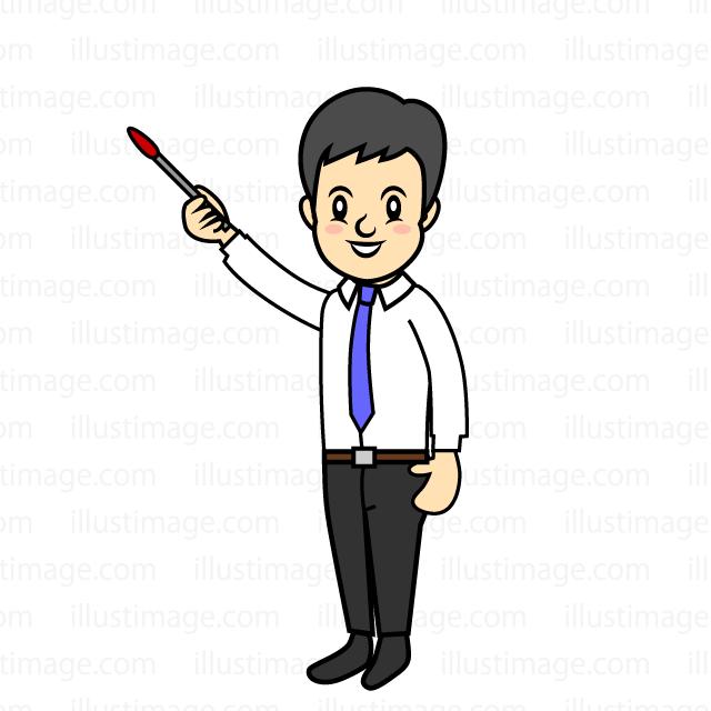 指示棒で説明するビジネスマンの無料イラスト素材イラストイメージ