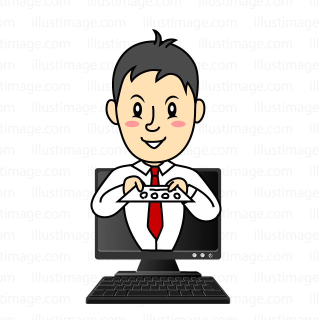 Salesman clip art coming out from a personal computer