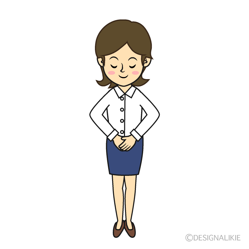 Bowing business woman clip art