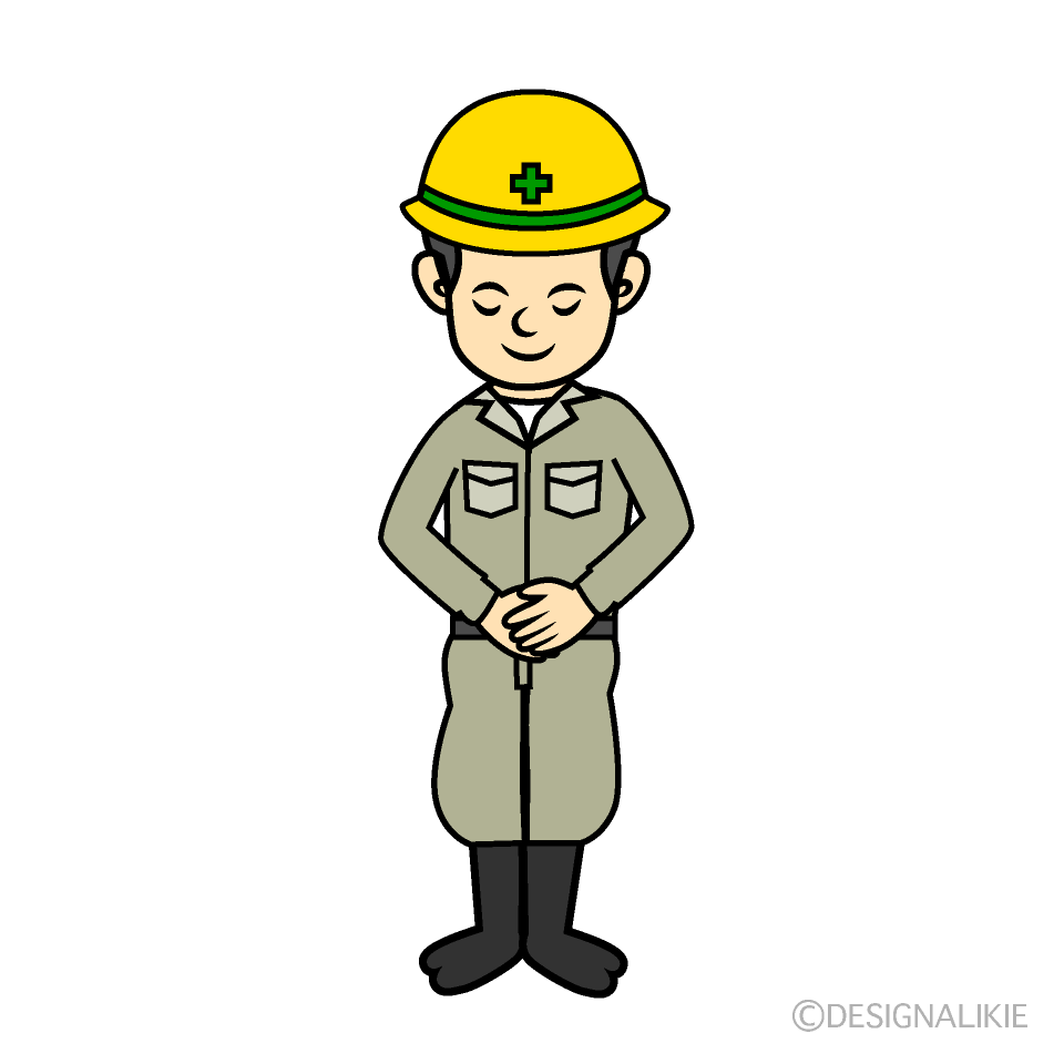 お辞儀する工事現場の作業員の無料イラスト素材イラストイメージ