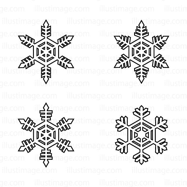 綺麗な雪の結晶 イラスト 白黒 , Illustration Images For You