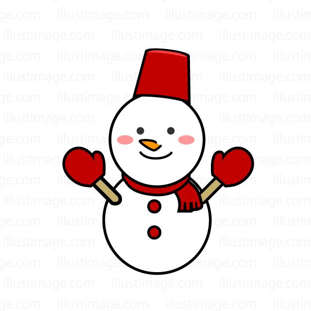 かわいい笑顔の雪だるまの無料イラスト素材イラストイメージ