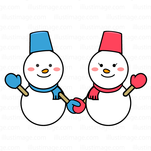 雪だるまの恋人の無料イラスト素材イラストイメージ