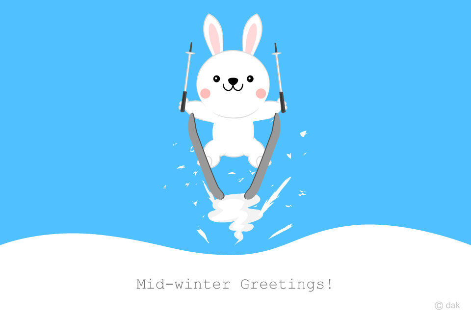 Skiing white rabbit