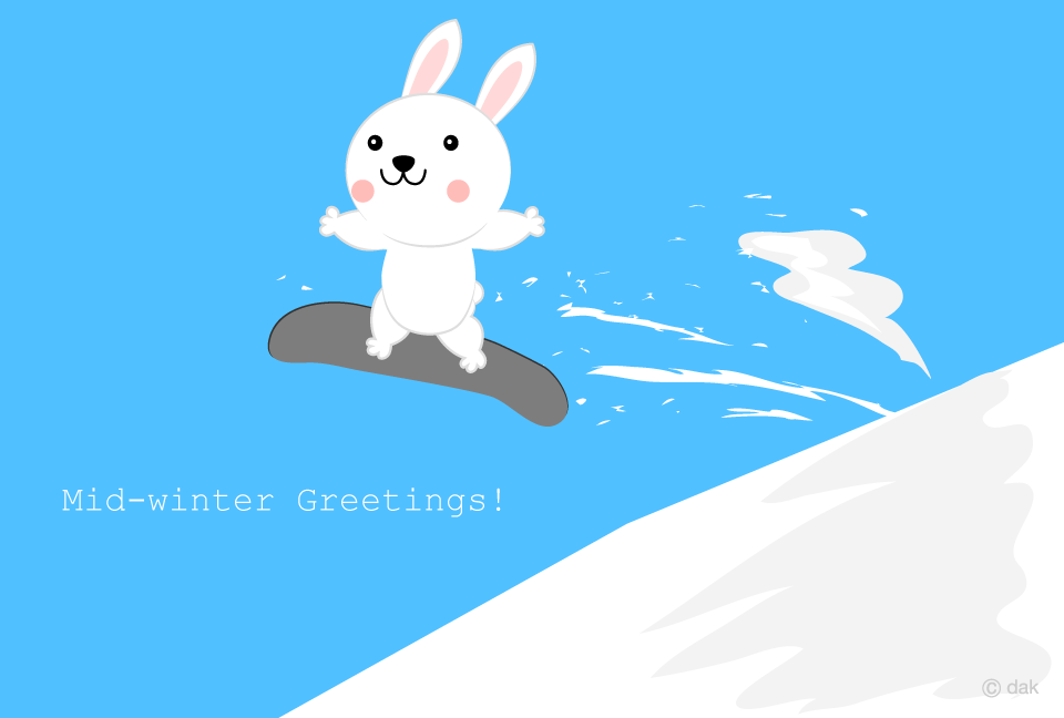 Snowboarding white rabbit