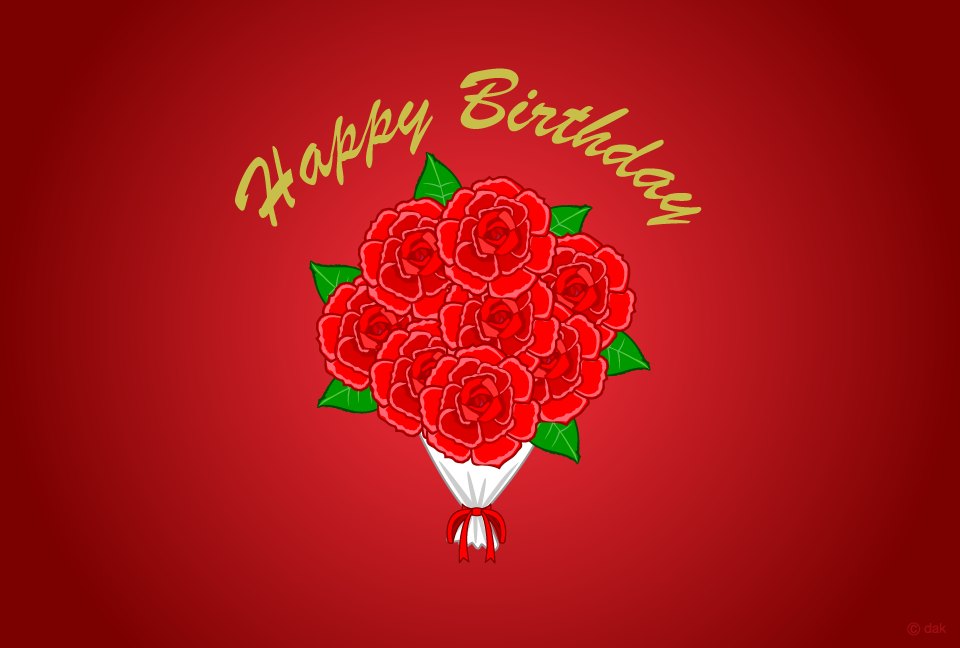 Red rose bouquet birthday card