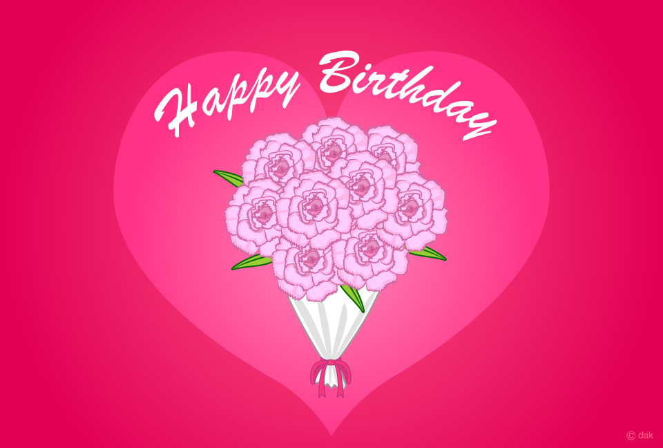 Carnation bouquet birthday card