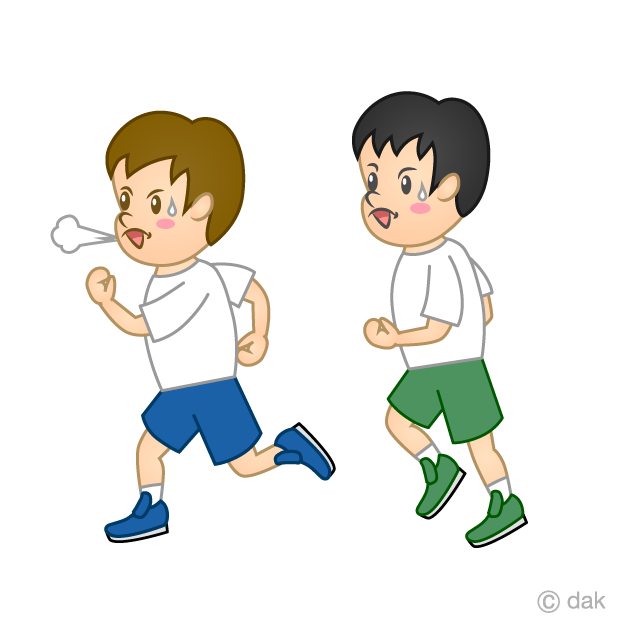 小学生のマラソンの無料イラスト素材イラストイメージ