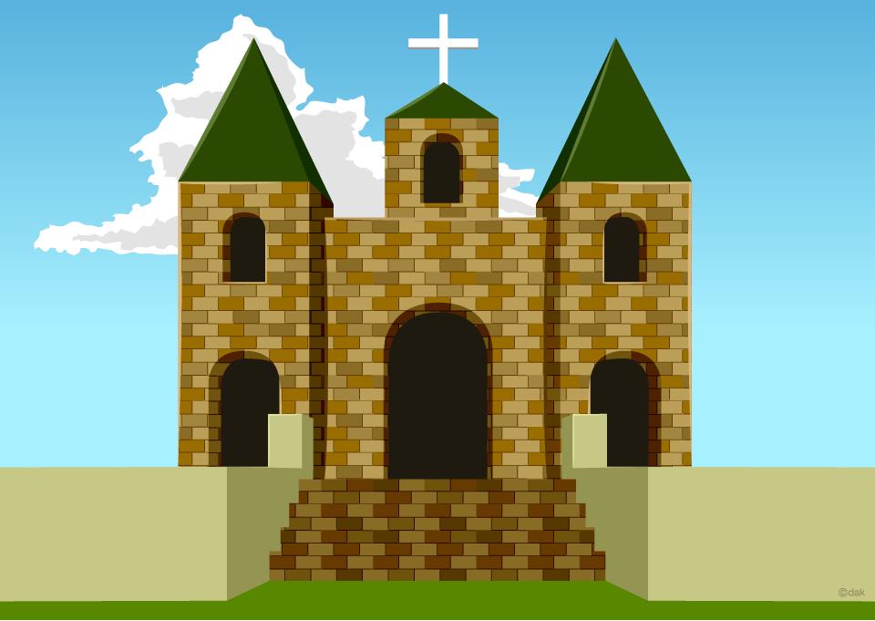 西洋のお城風教会のウェディングの無料イラスト素材イラストイメージ