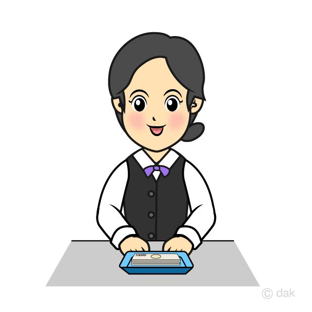 銀行員の女性の無料イラスト素材イラストイメージ