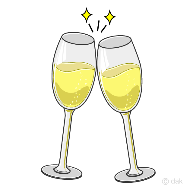 シャンパングラスの乾杯の無料イラスト素材イラストイメージ