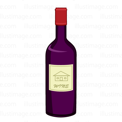 Simple red wine bottle