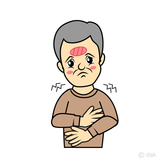 Elderly man with fever with a cold
