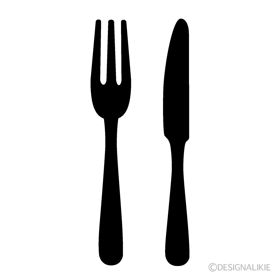 A silhouette of a knife and dishes