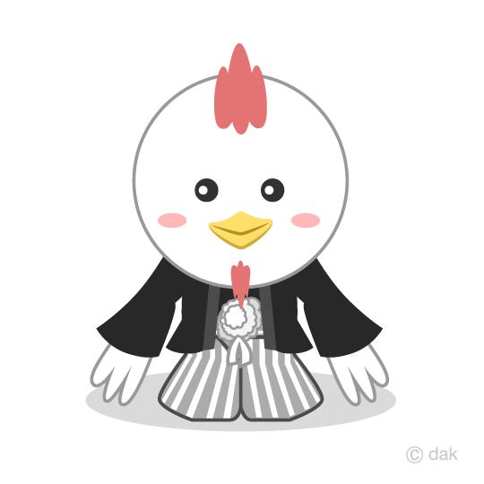 鶏シルエットの年賀状の無料イラスト素材イラストイメージ
