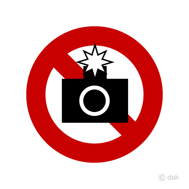 Flash photography prohibition sign