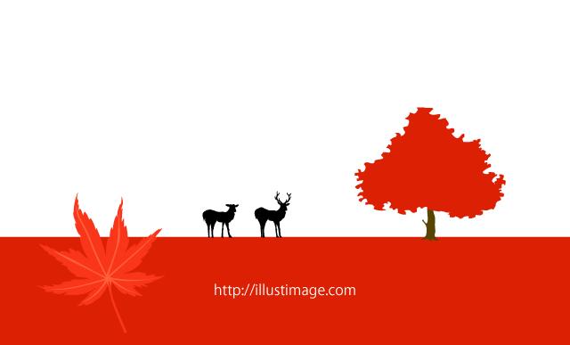 秋の紅葉シルエット風景の無料イラスト素材 イラストイメージ