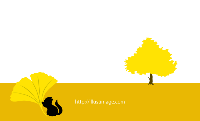 Autumn leaves of ginkgo biloba and squirrel silhouette landscape graphic design