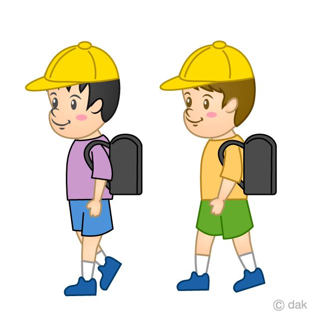 登下校する小学生の無料イラスト素材イラストイメージ