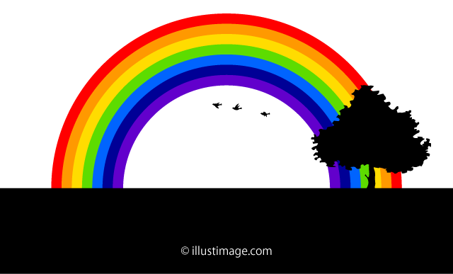 A landscape of a rainbow where small birds fly silhouette graphic design