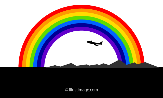 Airplane fly to the rainbow Silhouette Landscape Graphic Design