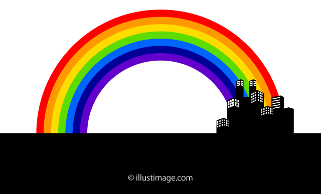 A rainbow silhouette in the city Landscape Graphic Design