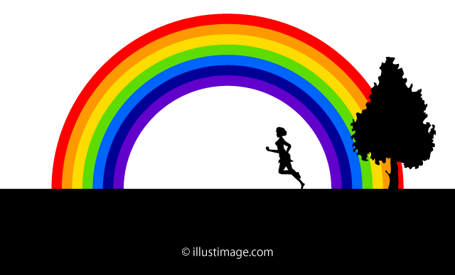 A girl running on the grass and rainbow graphic design