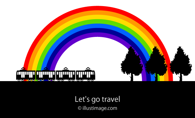 Train running rural and rainbow graphic design