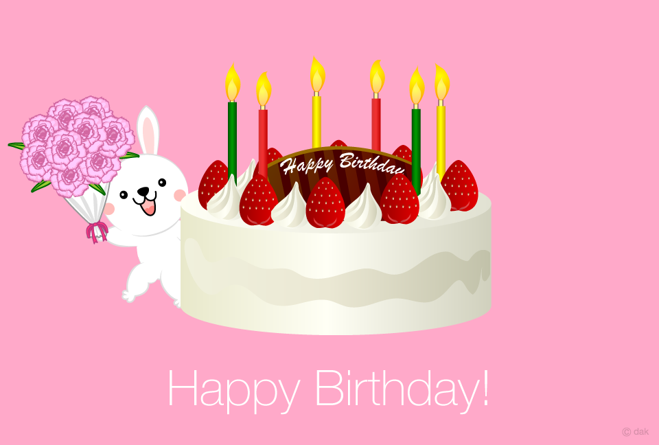 Cake and rabbit birthday card