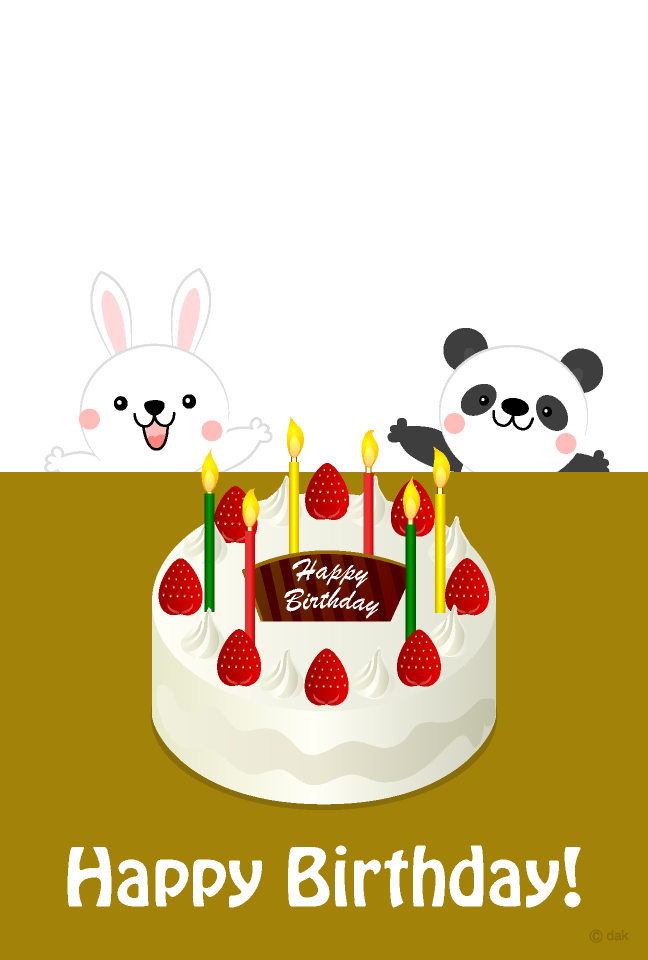 Rabbit and panda birthday cake