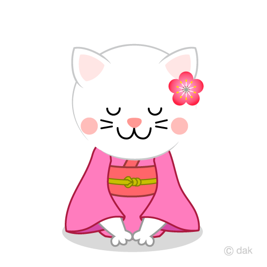 White cat to bow in kimono clip art