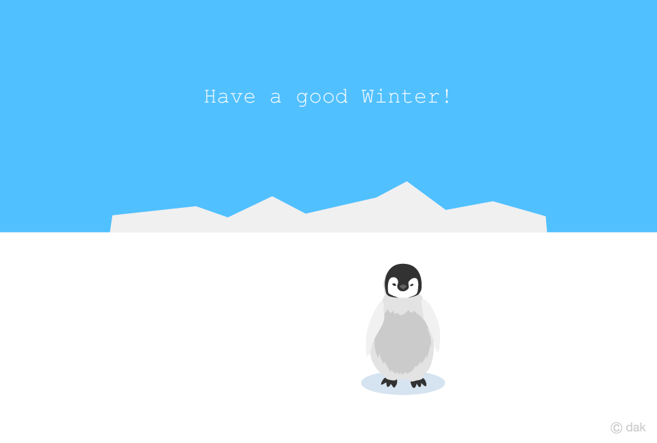 Baby penguin winter greeting card
