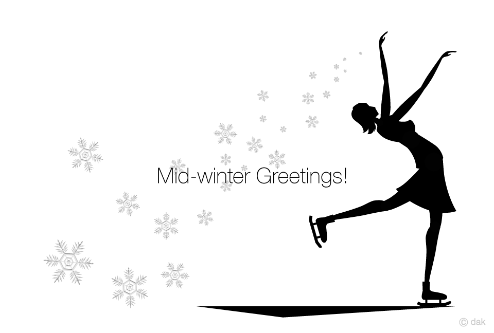 Girls' winter greeting card to skate in the snow