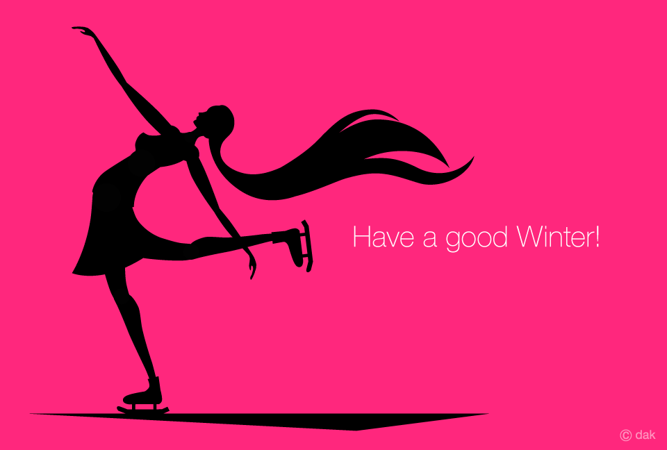 Figure Skating Girl Silhouette Winter Greeting Card Graphic Design