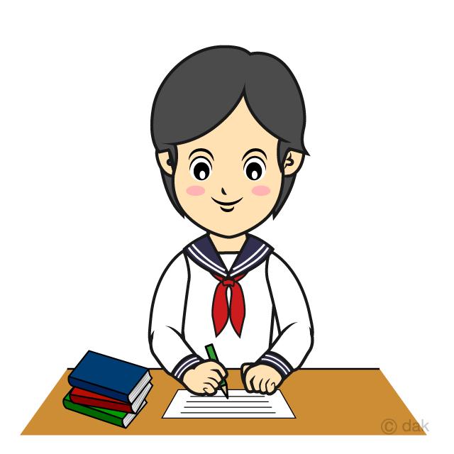 勉強する女子中学生の無料イラスト素材イラストイメージ